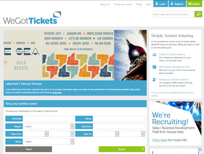 WeGotTickets home page